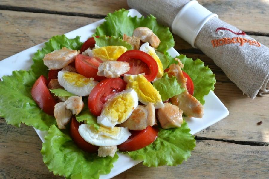 салат с курицей - отличный белковый завтрак для похудения