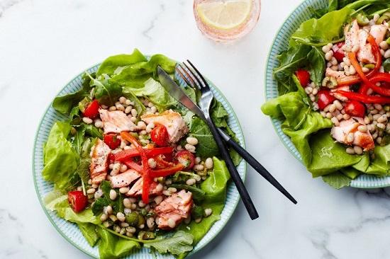 диета при сахарном диабете 2 типа: салат из лосося с фасолью